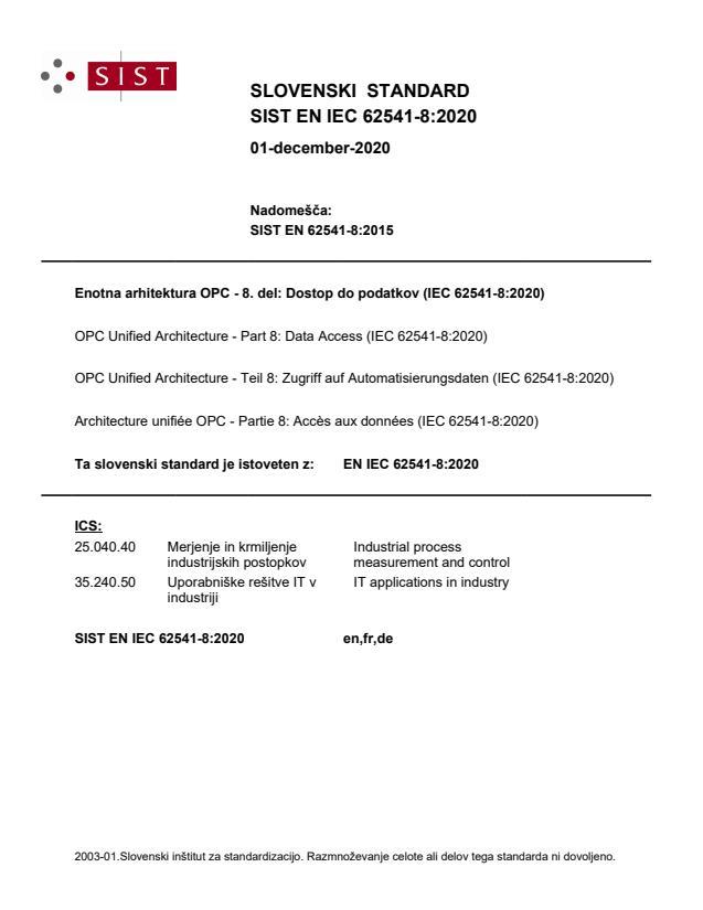 SIST EN IEC 62541-8:2020