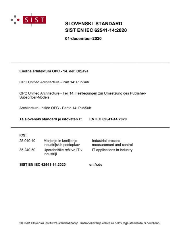 SIST EN IEC 62541-14:2020 - BARVE