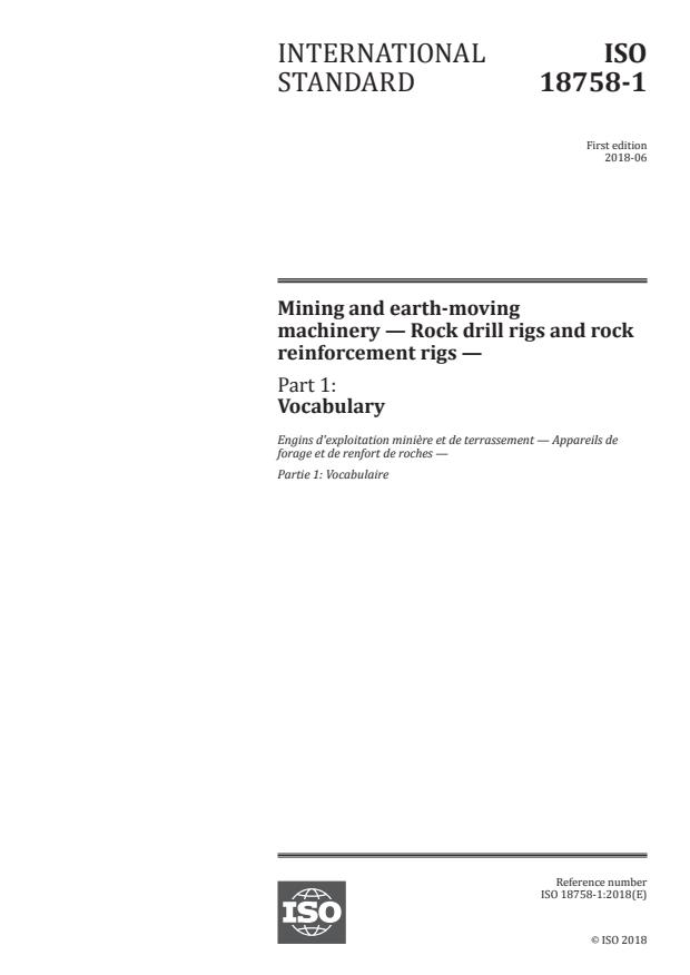 ISO 18758-1:2018 - Mining and earth-moving machinery -- Rock drill rigs and rock reinforcement rigs