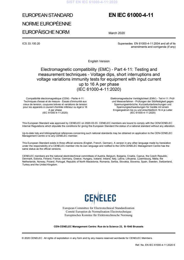 EN IEC 61000-4-11:2020
