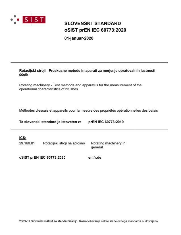 oSIST prEN IEC 60773:2020 - BARVE