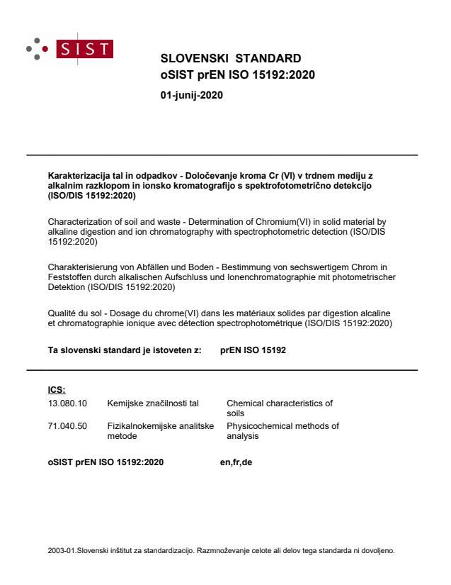 oSIST prEN ISO 15192:2020