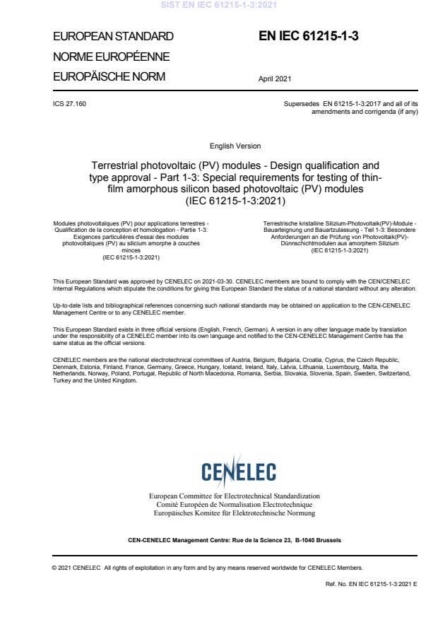 SIST EN IEC 61215-1-3:2021