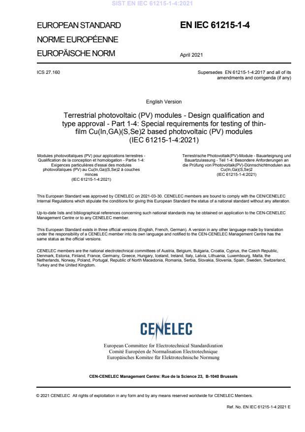 SIST EN IEC 61215-1-4:2021