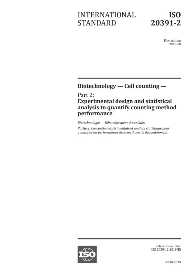 ISO 20391-2:2019 - Biotechnology -- Cell counting