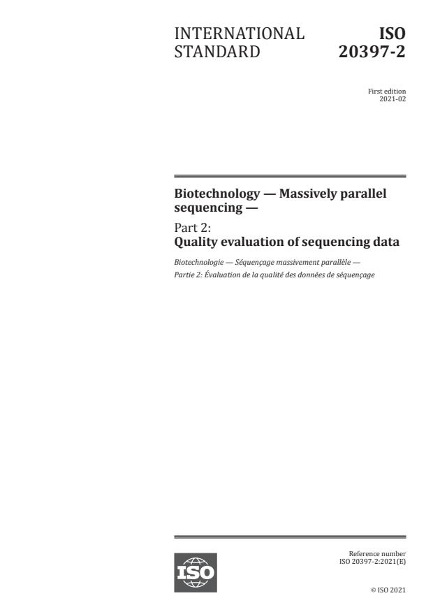 ISO 20397-2:2021 - Biotechnology -- Massively parallel sequencing
