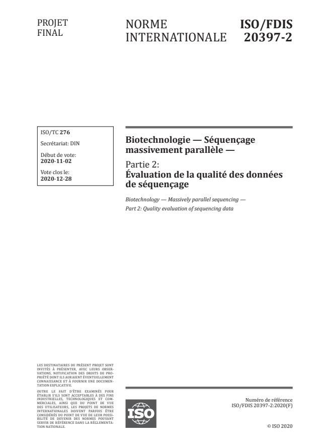ISO/FDIS 20397-2:Version 28-nov-2020 - Biotechnologie -- Séquençage massivement parallele