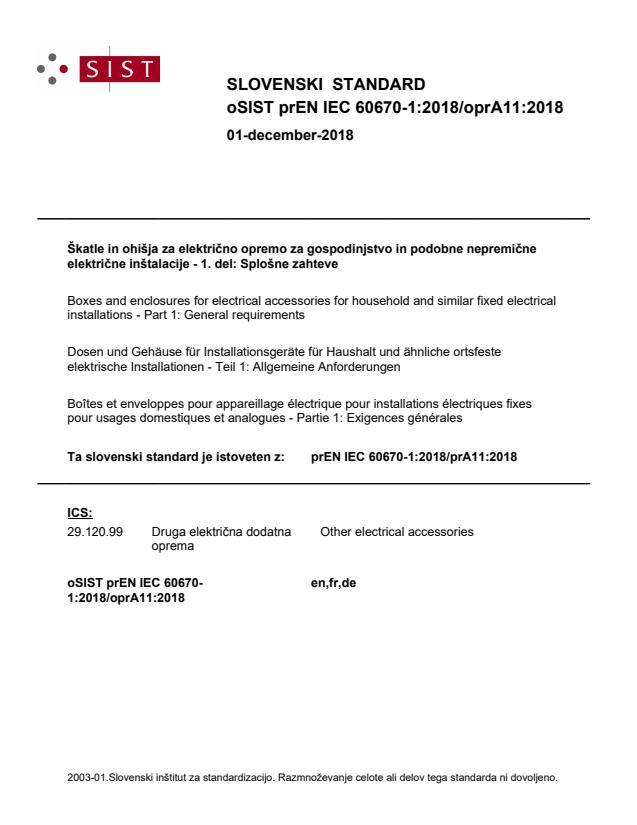 oSIST prEN IEC 60670-1:2018/oprA11:2018