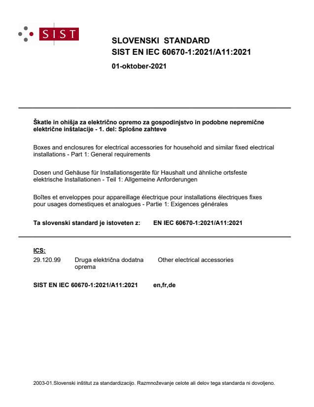 SIST EN IEC 60670-1:2021/A11:2021