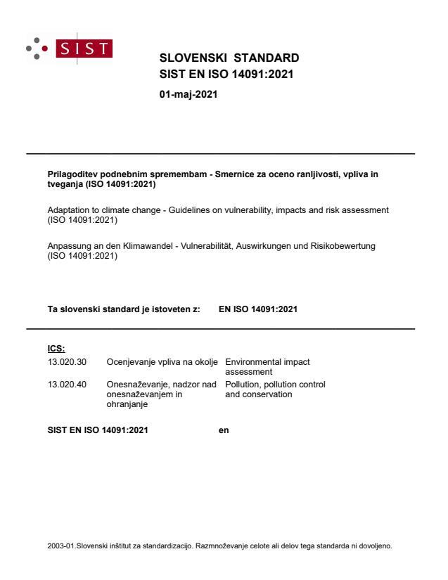 SIST EN ISO 14091:2021