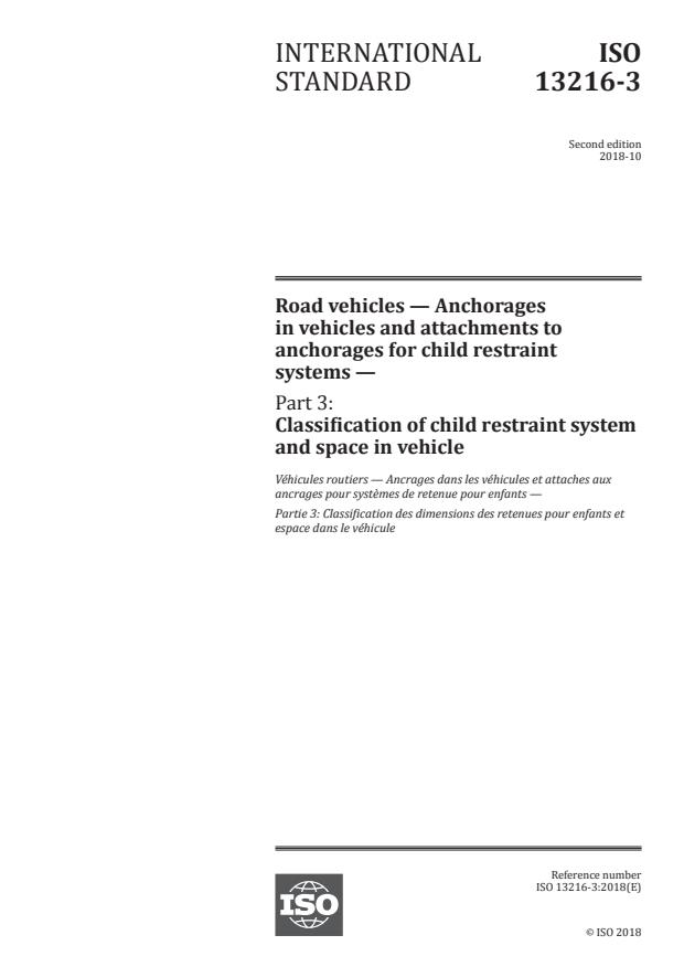 ISO 13216-3:2018 - Road vehicles -- Anchorages in vehicles and attachments to anchorages for child restraint systems