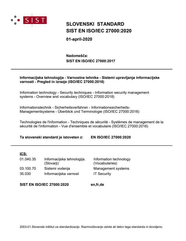 SIST EN ISO/IEC 27000:2020