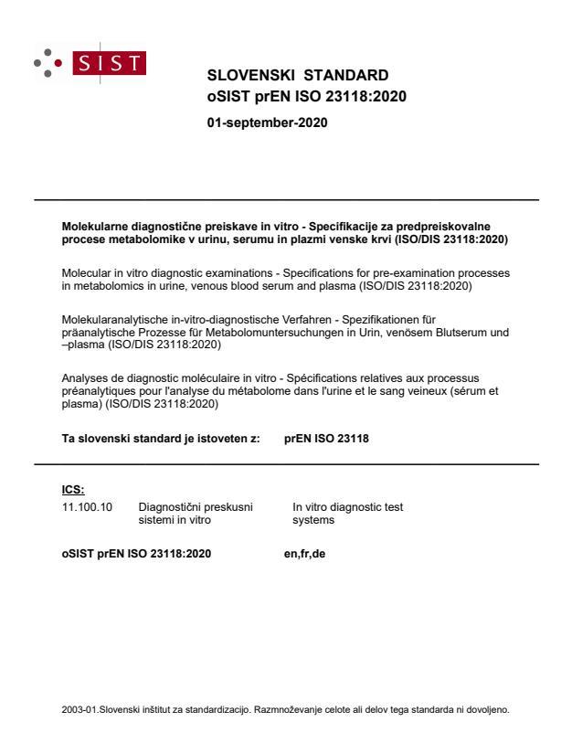oSIST prEN ISO 23118:2020