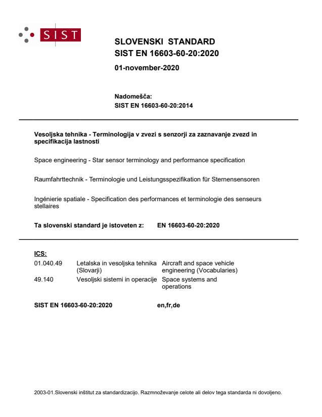 SIST EN 16603-60-20:2020 - BARVE