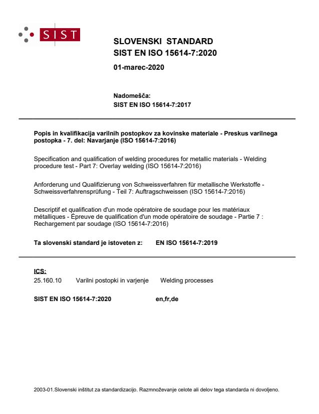 SIST EN ISO 15614-7:2020
