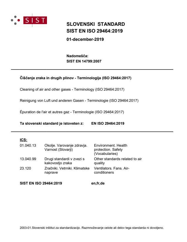 SIST EN ISO 29464:2019