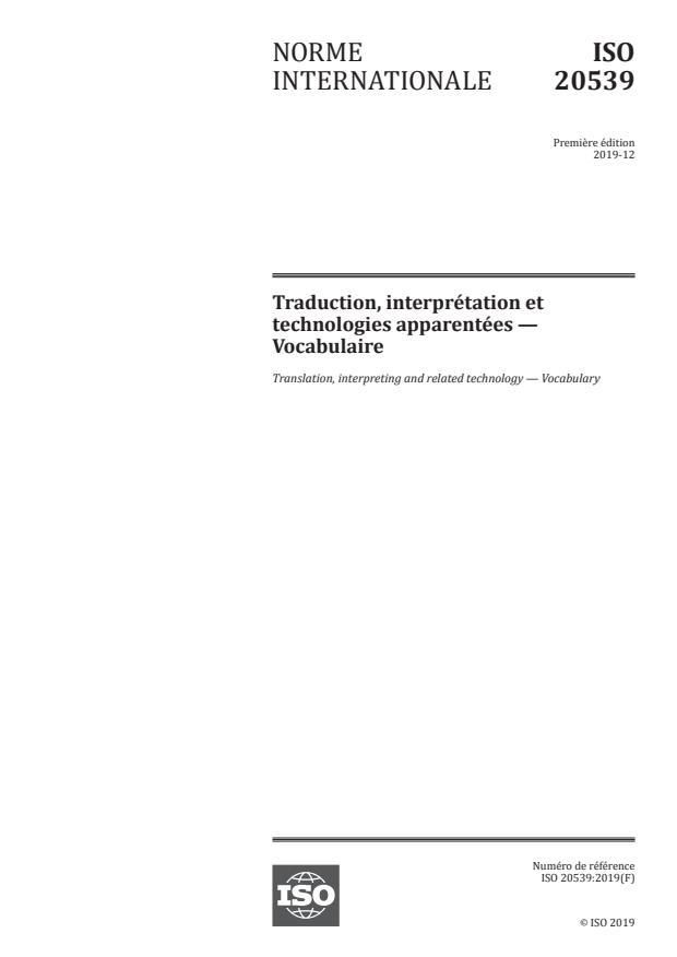 ISO 20539:2019 - Traduction, interprétation et technologies apparentées -- Vocabulaire