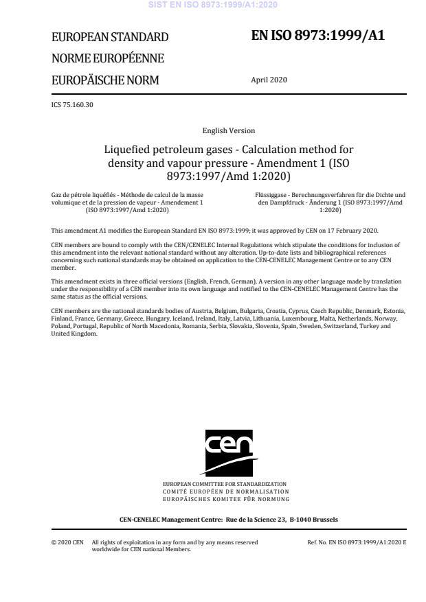 EN ISO 8973:1999/A1:2020