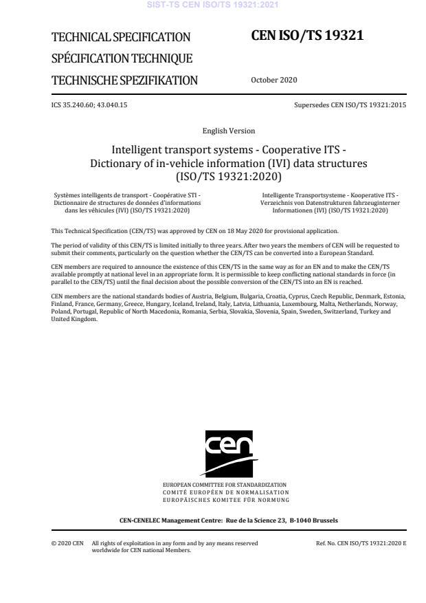 SIST-TS CEN ISO/TS 19321:2021
