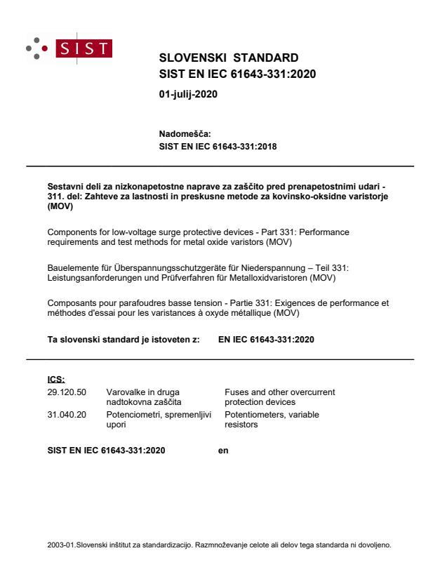 SIST EN IEC 61643-331:2020