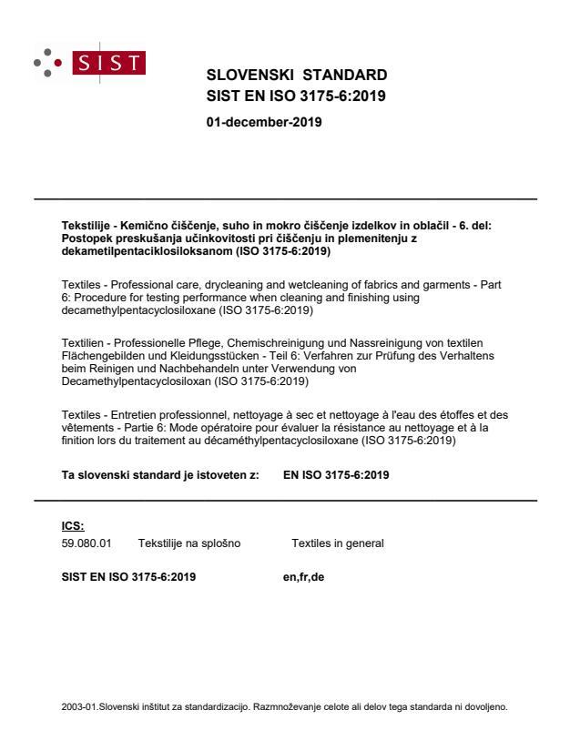 SIST EN ISO 3175-6:2019