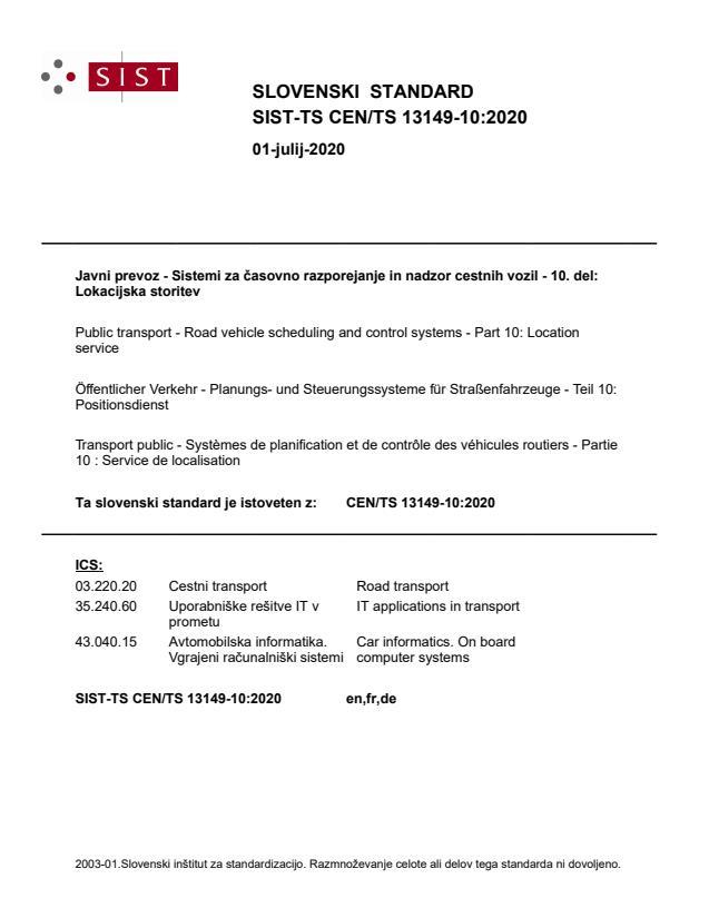 SIST-TS CEN/TS 13149-10:2020