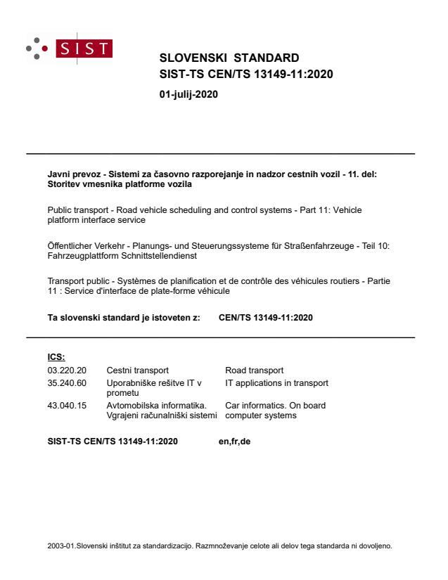 -TS CEN/TS 13149-11:2020