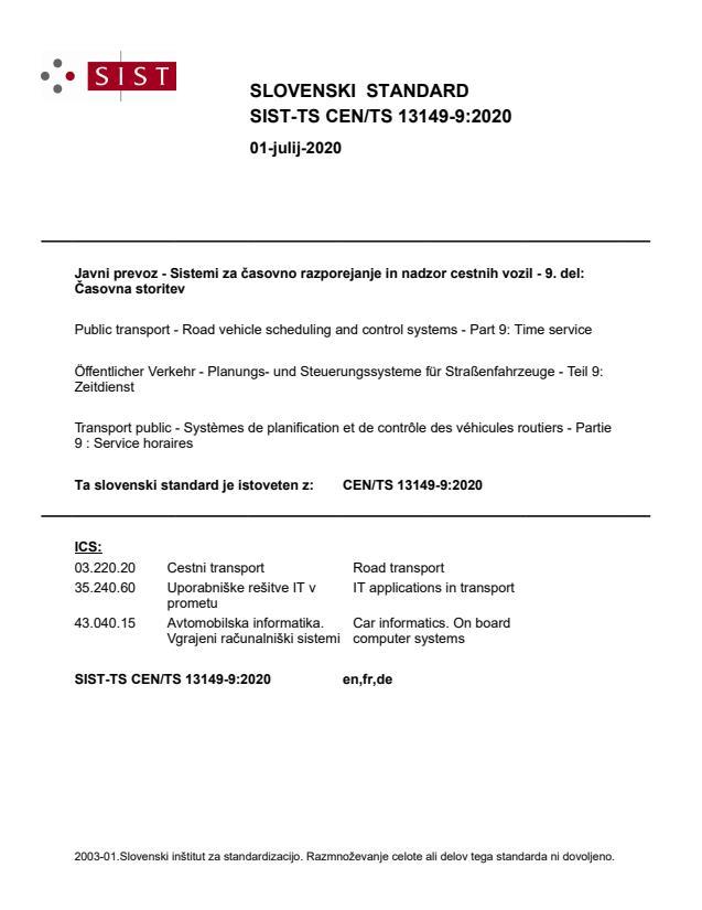 SIST-TS CEN/TS 13149-9:2020