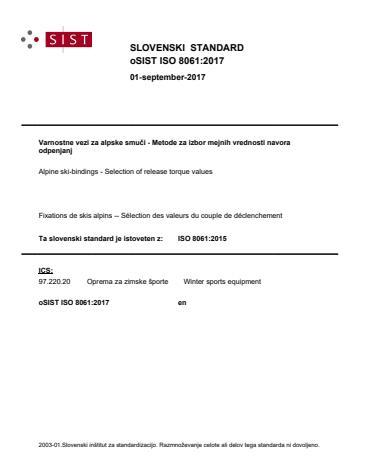oSIST ISO 8061:2017