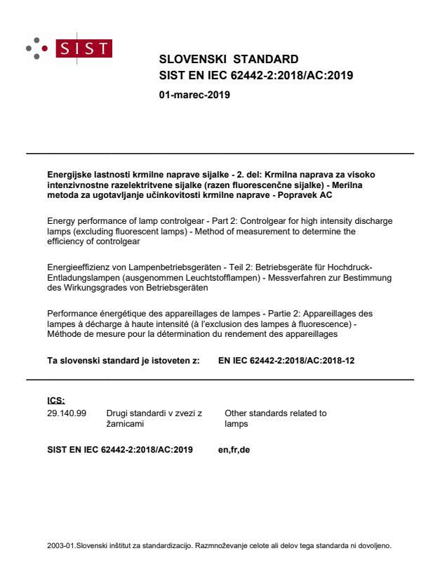 SIST EN IEC 62442-2:2018/AC:2019