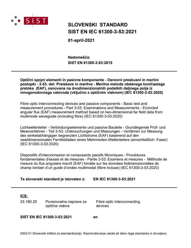 SIST EN IEC 61300-3-53:2021