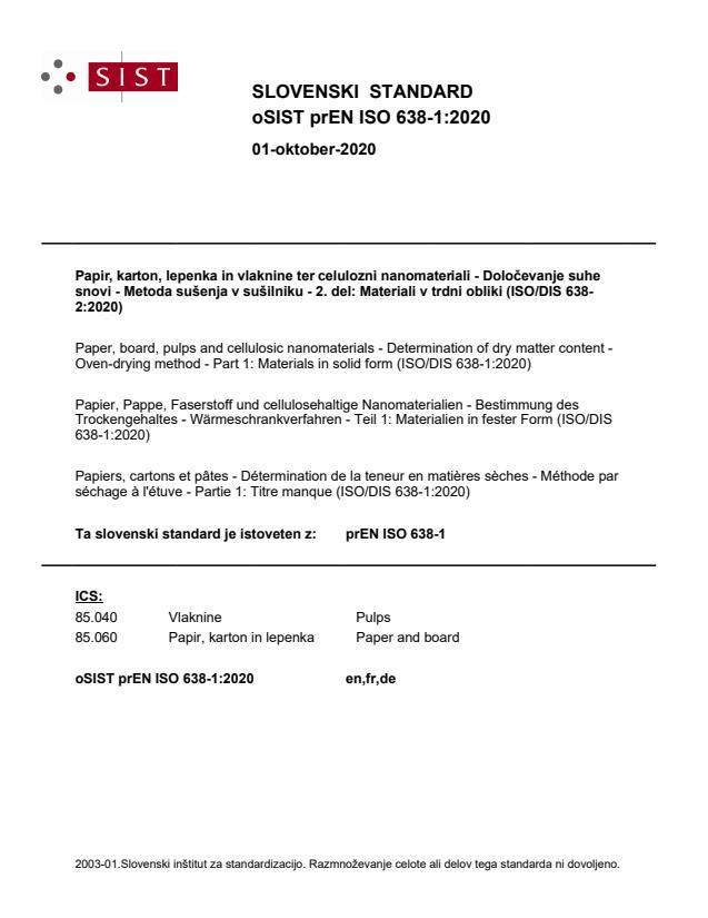 oSIST prEN ISO 638-1:2020