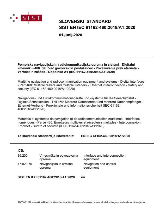EN IEC 61162-460:2018/A1:2020