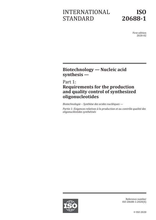 ISO 20688-1:2020 - Biotechnology -- Nucleic acid synthesis
