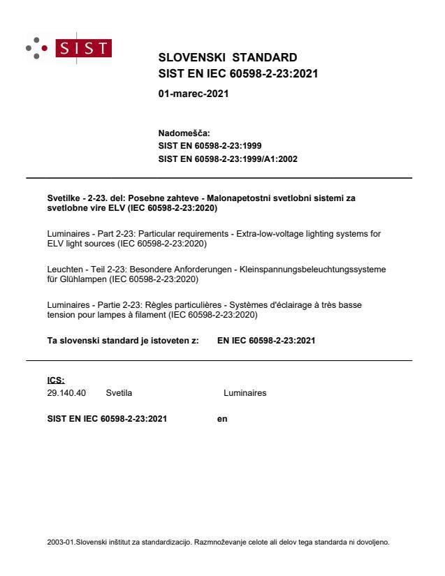 SIST EN IEC 60598-2-23:2021