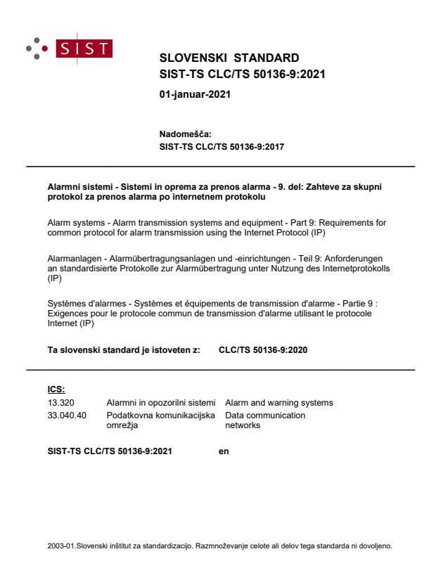 SIST-TS CLC/TS 50136-9:2021