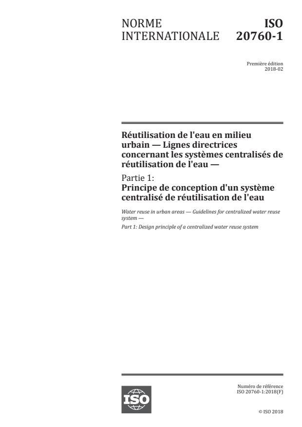 ISO 20760-1:2018 - Réutilisation de l'eau en milieu urbain -- Lignes directrices concernant les systemes centralisés de réutilisation de l'eau