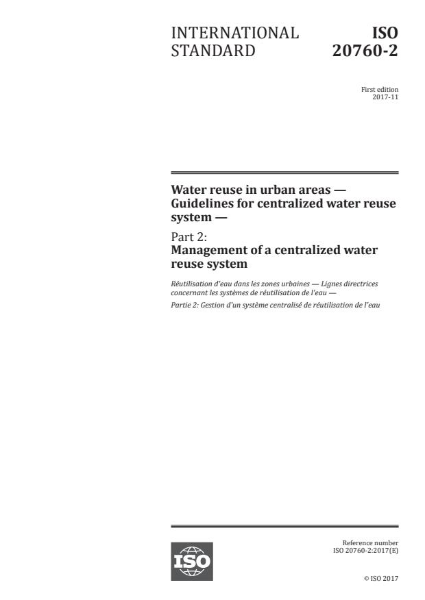 ISO 20760-2:2017 - Water reuse in urban areas -- Guidelines for centralized water reuse system