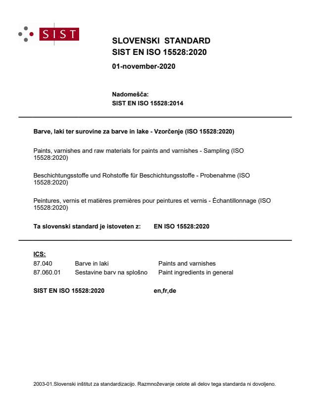 SIST EN ISO 15528:2020