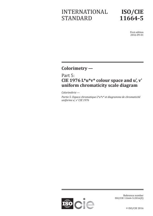 ISO/CIE 11664-5:2016 - Colorimetry