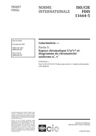 ISO/CIE 11664-5:2016 - Colorimétrie