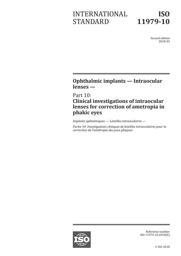 ISO 11979-10:2018 - Ophthalmic implants -- Intraocular lenses