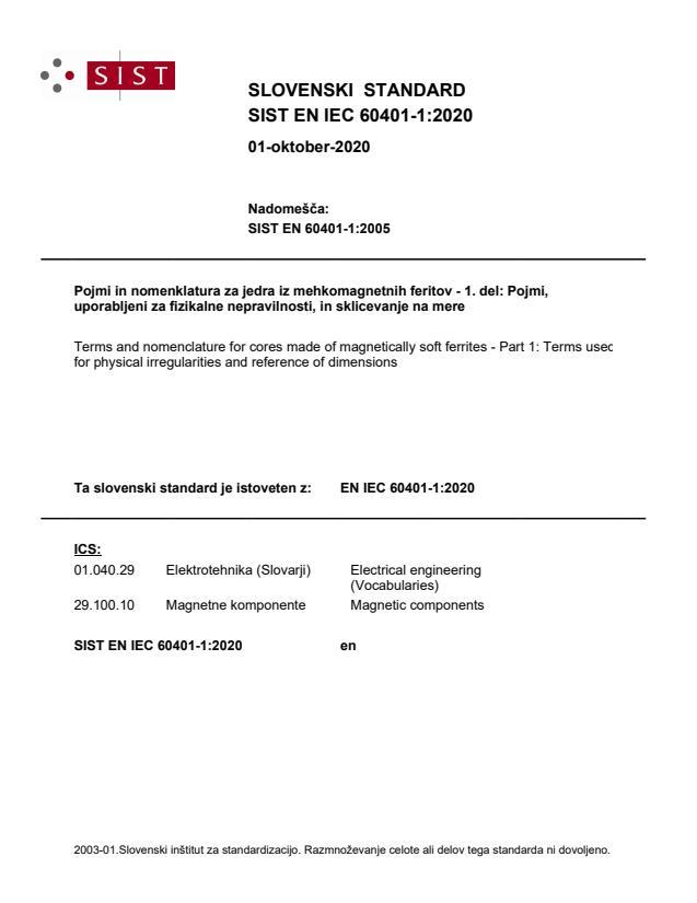 SIST EN IEC 60401-1:2020
