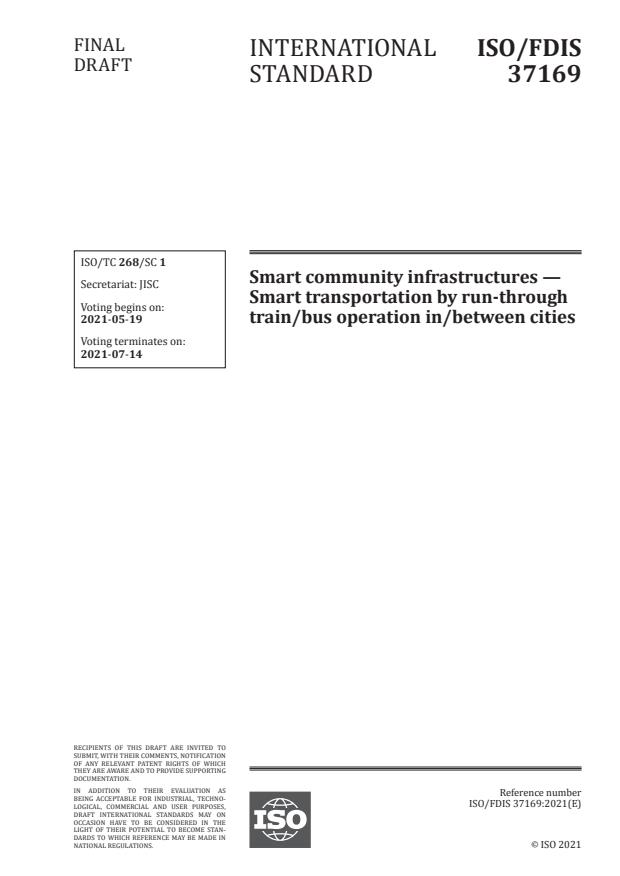ISO/FDIS 37169:Version 15-maj-2021 - Smart community infrastructures -- Smart transportation by run-through train/bus operation in/between cities