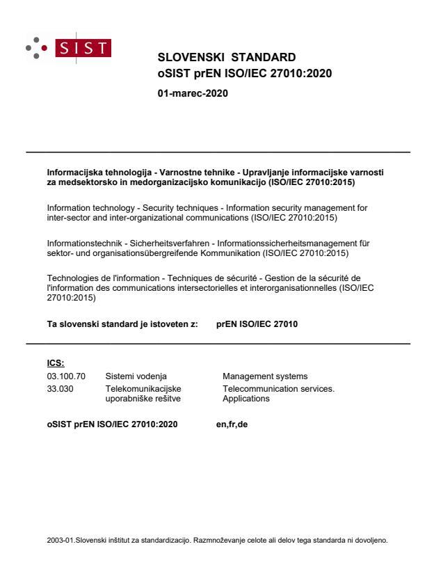 oSIST prEN ISO/IEC 27010:2020