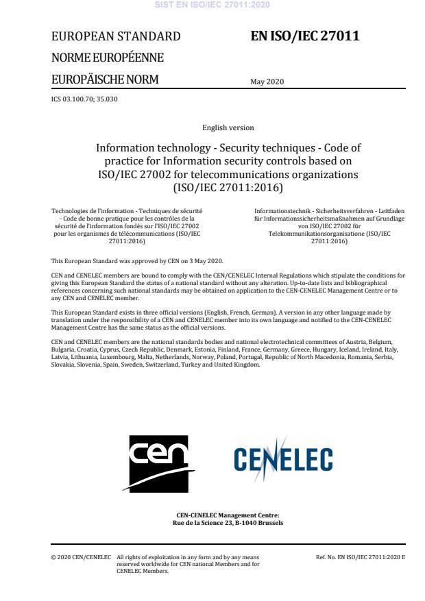 SIST EN ISO/IEC 27011:2020