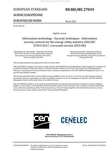 SIST EN ISO/IEC 27019:2020