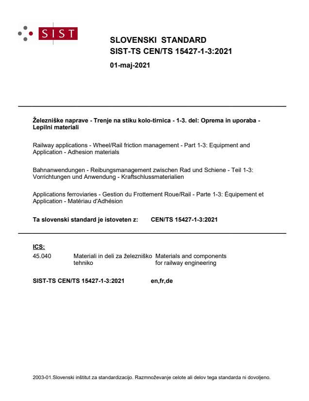 SIST-TS CEN/TS 15427-1-3:2021