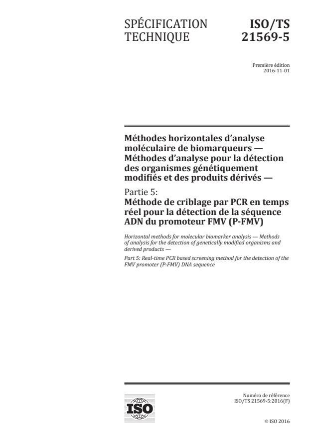ISO/TS 21569-5:2016 - Méthodes horizontales d'analyse moléculaire de biomarqueurs -- Méthodes d'analyse pour la détection des organismes génétiquement modifiés et des produits dérivés