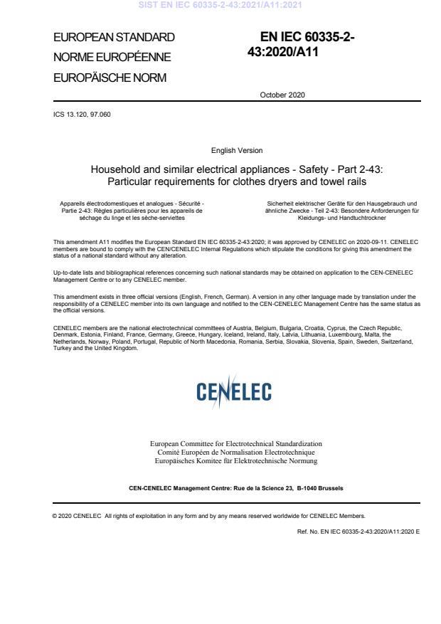 SIST EN IEC 60335-2-43:2021/A11:2021